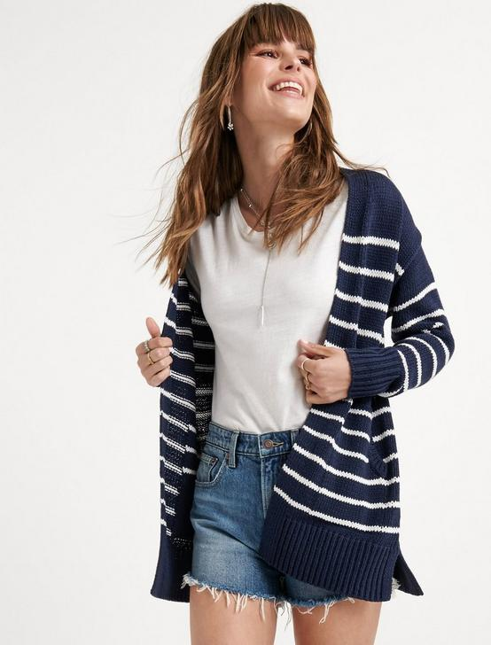 STRIPE BOYFRIEND CARDIGAN, NAVY MULTI, productTileDesktop