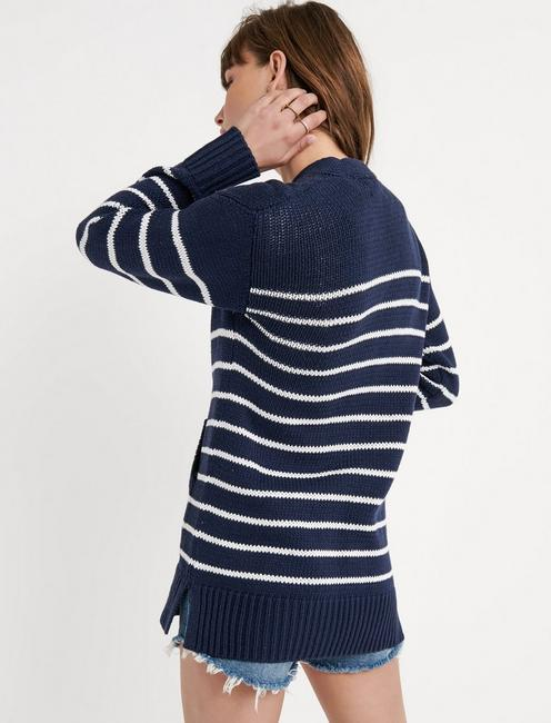 STRIPE BOYFRIEND CARDIGAN, NAVY MULTI