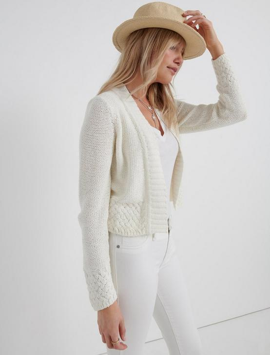 BASKET STITCH CARDIGAN, MARSHMALLOW, productTileDesktop