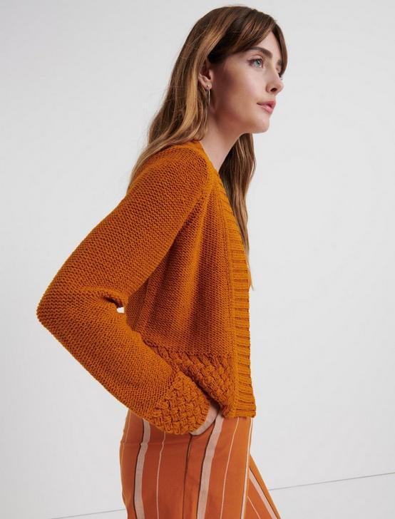 BASKET STITCH CARDIGAN, PUMPKIN SPICE, productTileDesktop