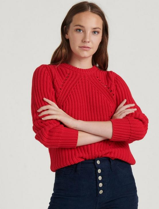 CREW NECK LONG SLEEVE SWEATER, TRUE RED, productTileDesktop