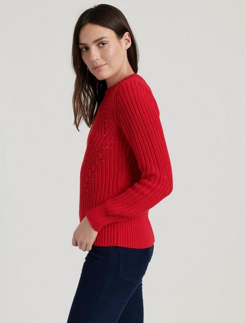 CREW NECK LONG SLEEVE SWEATER, TRUE RED