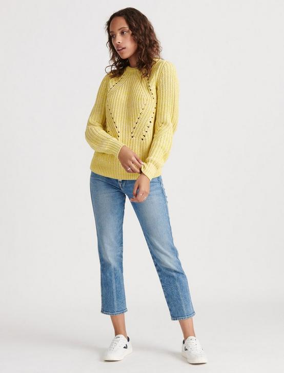 CREW NECK LONG SLEEVE SWEATER, YELLOW MULTI, productTileDesktop