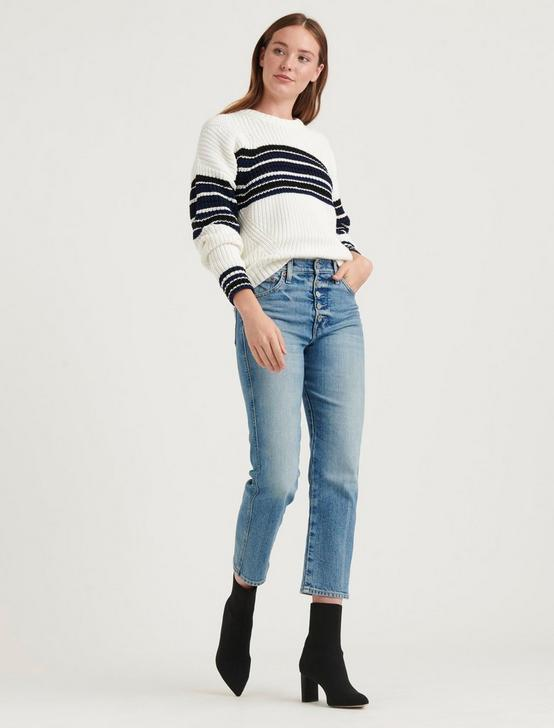 ELLIE STRIPE CREW SWEATER, CREAM MULTI, productTileDesktop