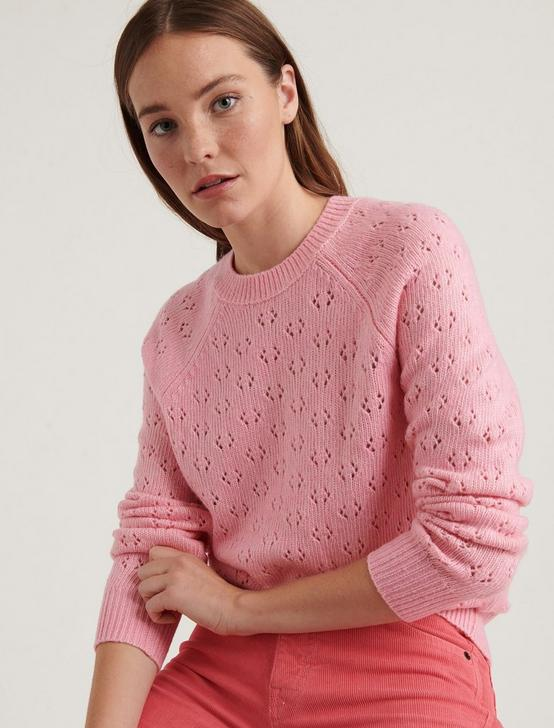 EMILY POINTELLE PULLOVER SWEATER, PINK MULTI, productTileDesktop