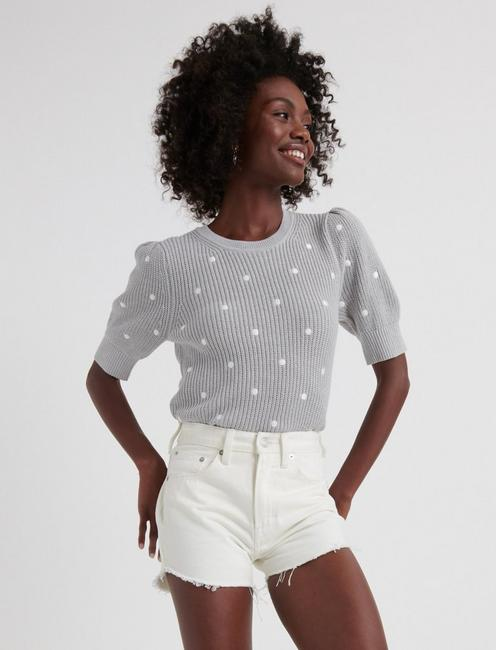 Polka Dot Short Puff Sleeve Sweater by Lucky Brand