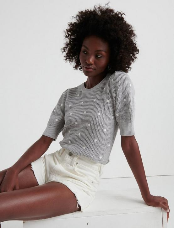 POLKA DOT SHORT PUFF SLEEVE SWEATER, HEATHER GREY, productTileDesktop