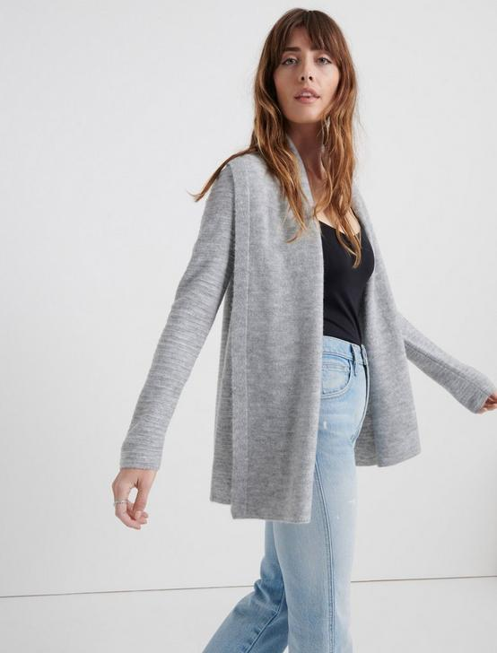 LIGHTWEIGHT WATERFALL CARDIGAN, HEATHER GREY MULTI, productTileDesktop