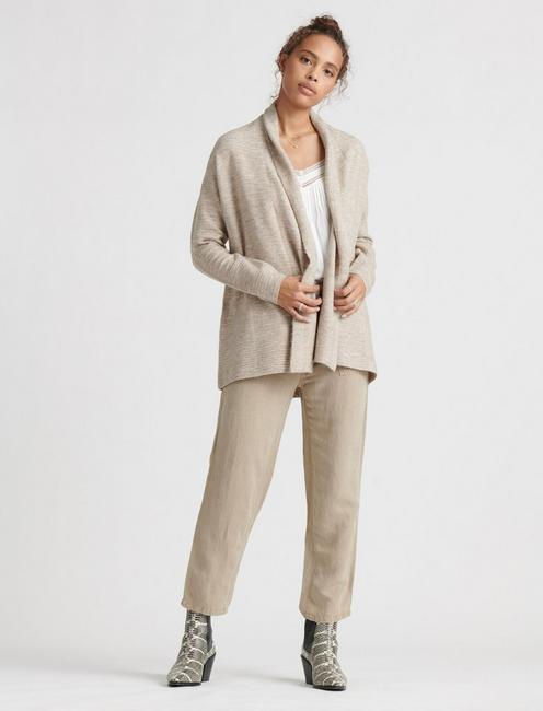 LIGHTWEIGHT WATERFALL CARDIGAN, MUSHROOM HEATHER