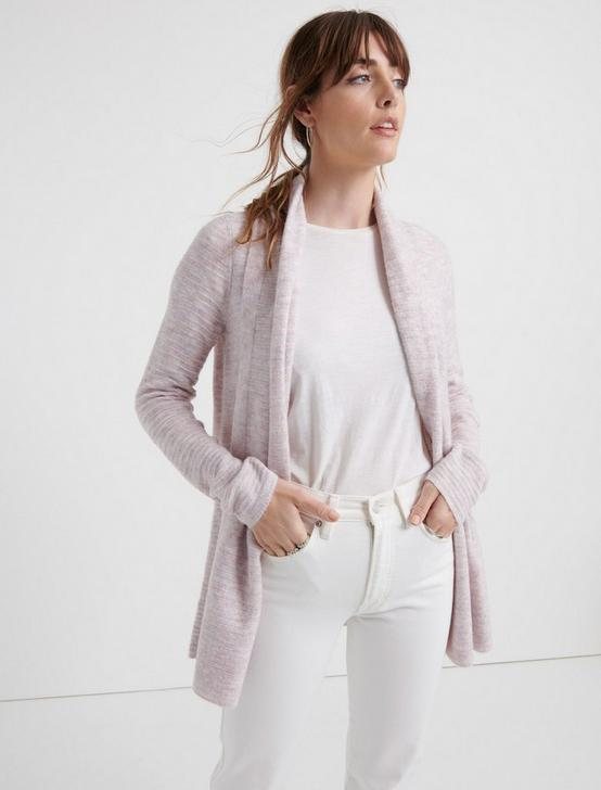 LIGHTWEIGHT WATERFALL CARDIGAN, LAVENDER HEATHER, productTileDesktop