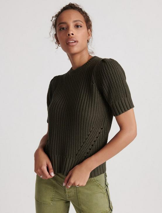 PLEAT SHOULDER SHORT SLEEVE SWEATER, THYME, productTileDesktop