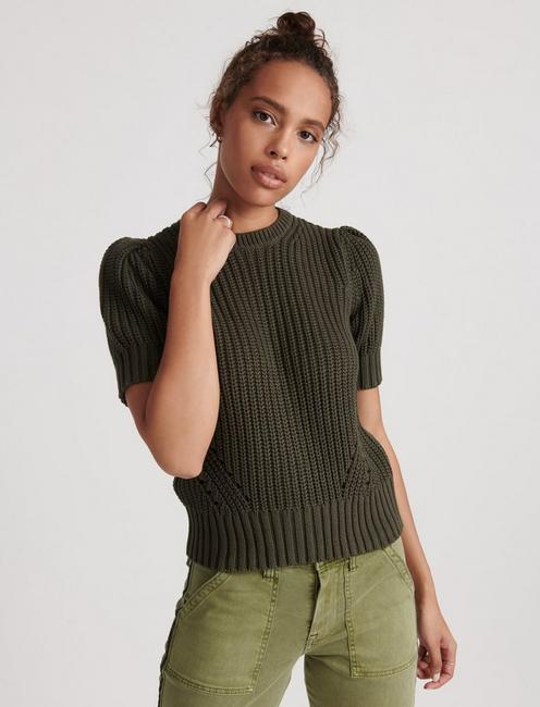 PLEAT SHOULDER SHORT SLEEVE SWEATER, THYME