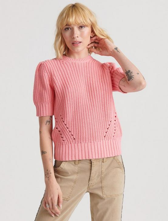 PLEAT SHOULDER SHORT SLEEVE SWEATER, TEA ROSE, productTileDesktop