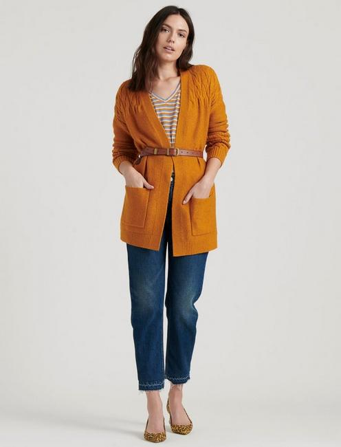 VENICE CABLE CARDIGAN, SUDAN BROWN
