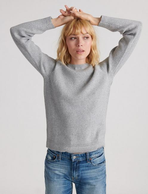ALEX RIB CREW SWEATER, HEATHER GREY