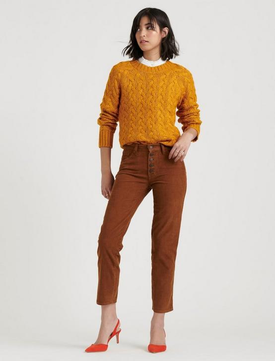 QUINN CABLE PULLOVER, SUDAN BROWN, productTileDesktop