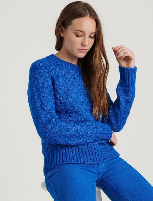 QUINN CABLE PULLOVER, PRINCESS BLUE