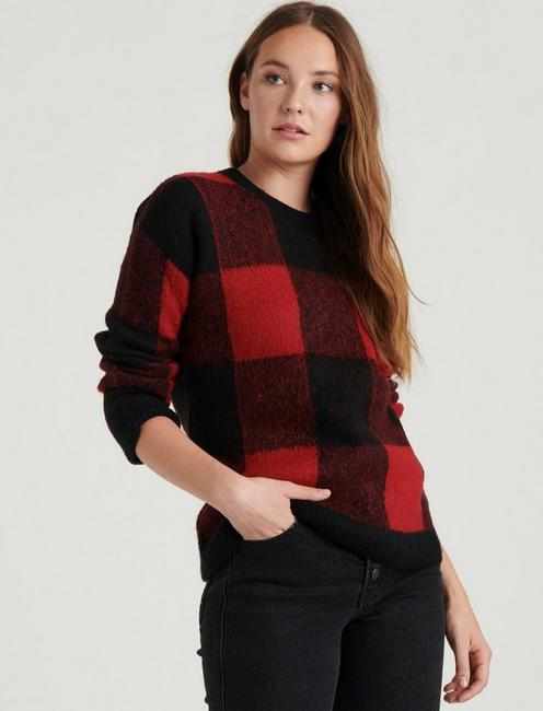 BRUSHED BUFFALO CHECK PULLOVER, RED MULTI