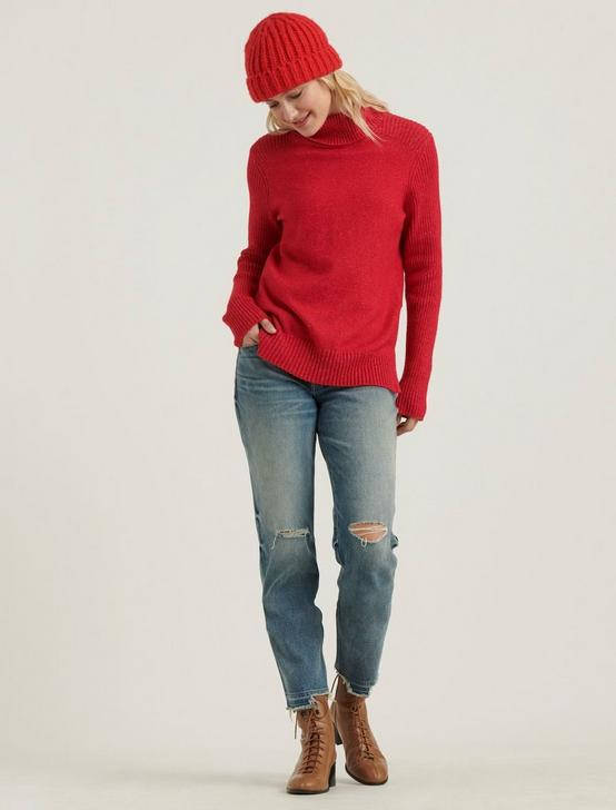 SIDE SLIT TURTLENECK SWEATER, SCOOTER RED, productTileDesktop