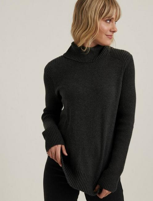 SIDE SLIT TURTLENECK SWEATER, CHARCOAL HEATHER