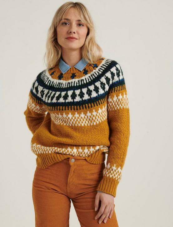 BOLD FAIRISLE SWEATER, MUSTARD MULTI, productTileDesktop