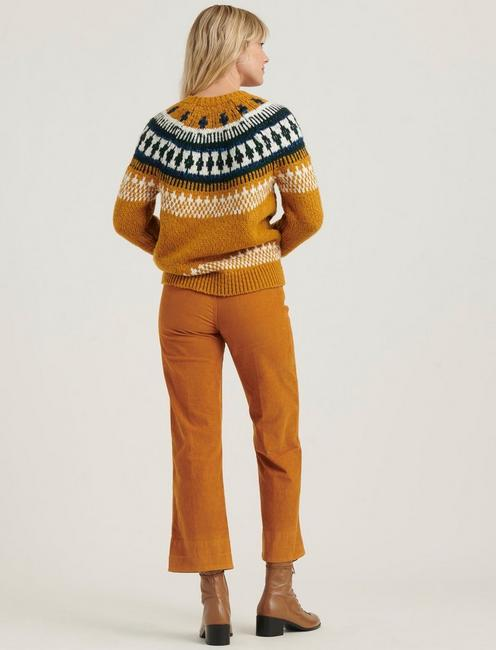 BOLD FAIRISLE SWEATER, MUSTARD MULTI