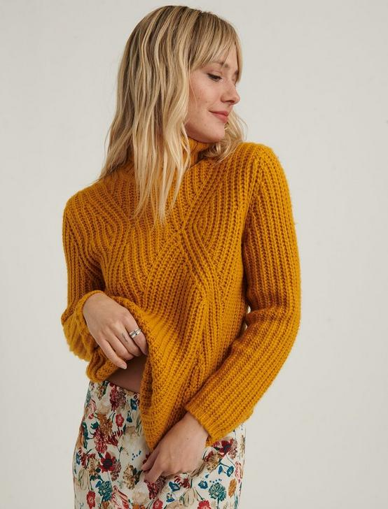 TRAVELING RIB SWEATER, MUSTARD, productTileDesktop