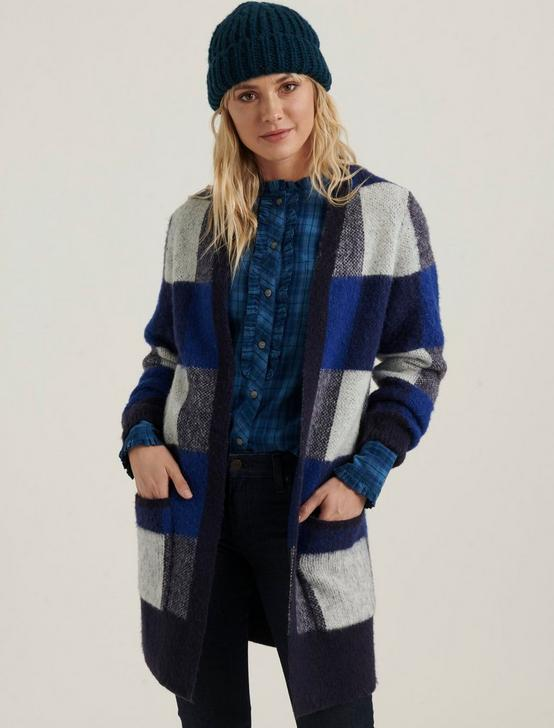 BUFFALO CHECK CARDIGAN, BLUE MULTI, productTileDesktop