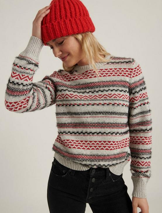 STRIPED FAIRISLE SWEATER, GREY MULTI, productTileDesktop