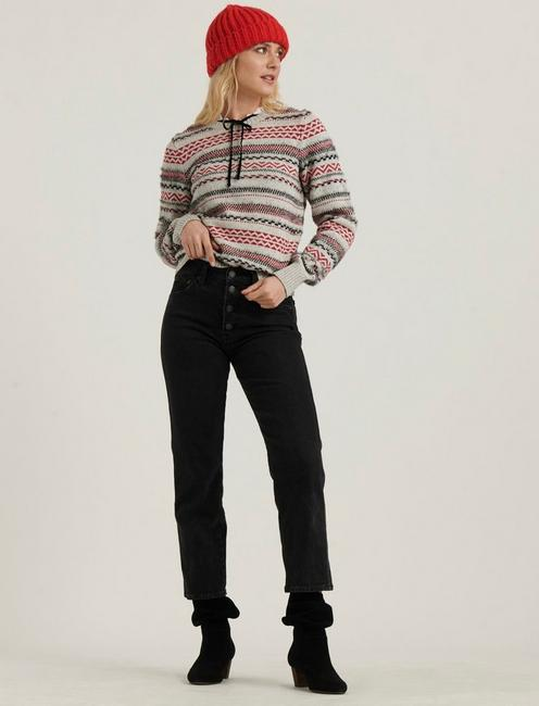 STRIPED FAIRISLE SWEATER, GREY MULTI