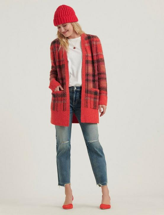 BRUSHED PLAID CARDIGAN, RED MULTI, productTileDesktop