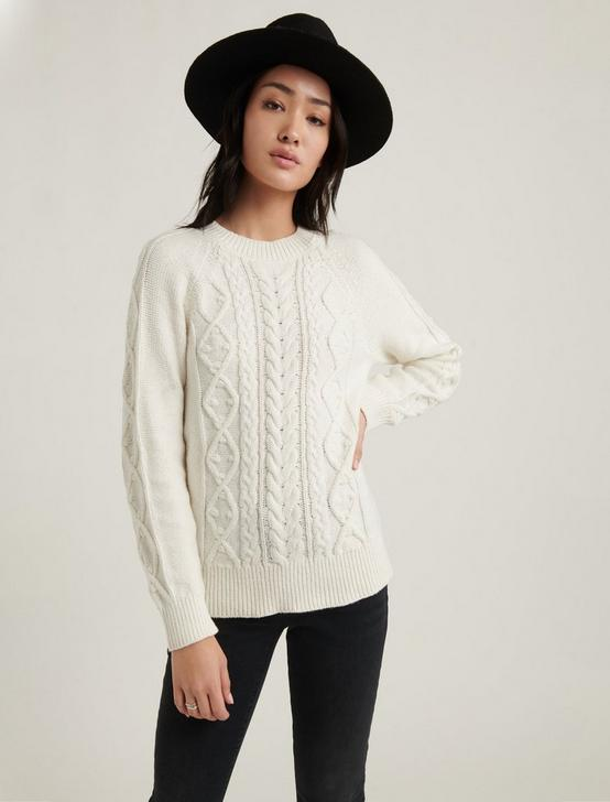 CABLE KNIT CREW NECK SWEATER, SNOW WHITE, productTileDesktop