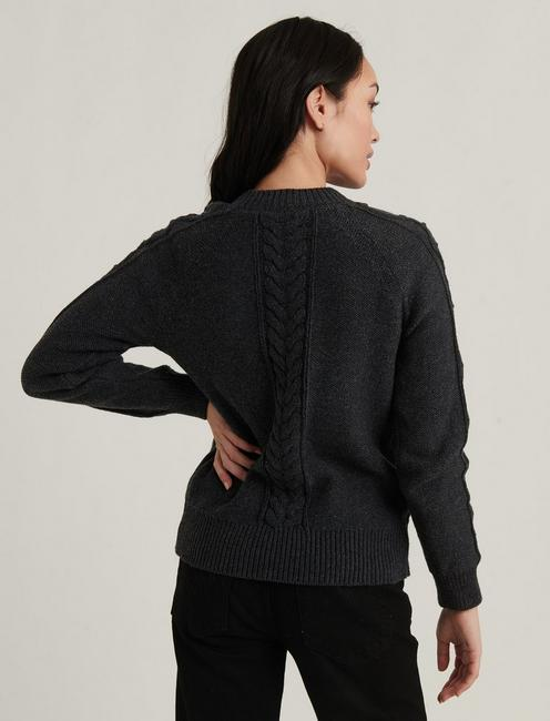 CABLE KNIT CREW NECK SWEATER, CHARCOAL HEATHER