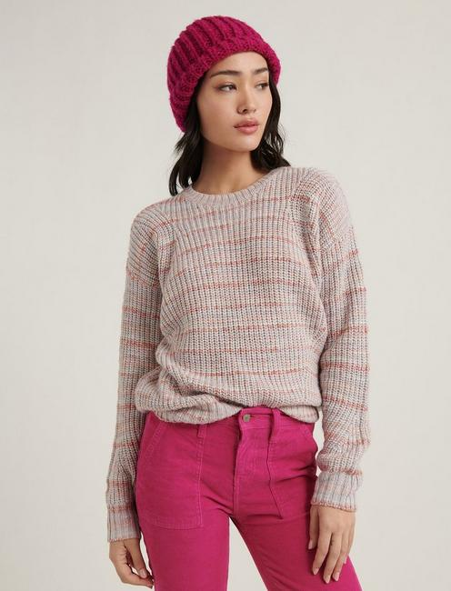MARLED CREW NECK SWEATER, PINK MULTI