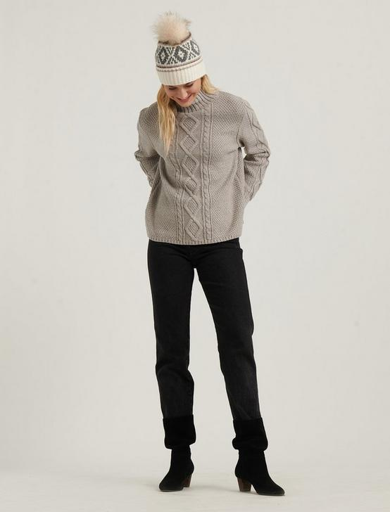 CABLE KNIT TURTLENECK SWEATER, MUSHROOM HEATHER, productTileDesktop