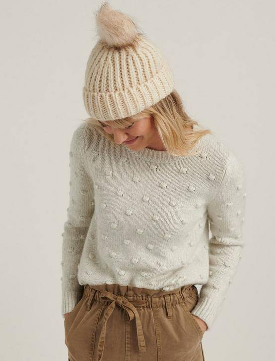 BOBBLE CREW NECK SWEATER, LIGHT HEATHER GREY, productTileDesktop