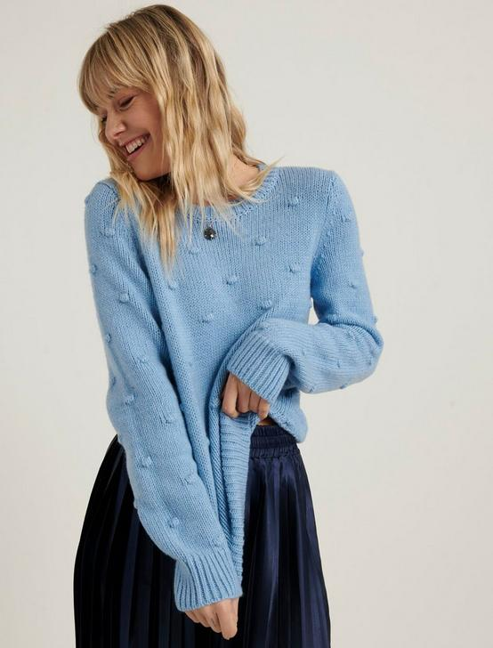 BOBBLE CREW NECK SWEATER, POWDER BLUE, productTileDesktop