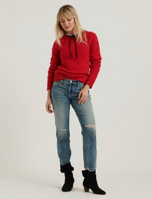BOBBLE CREW NECK SWEATER, TANGO RED