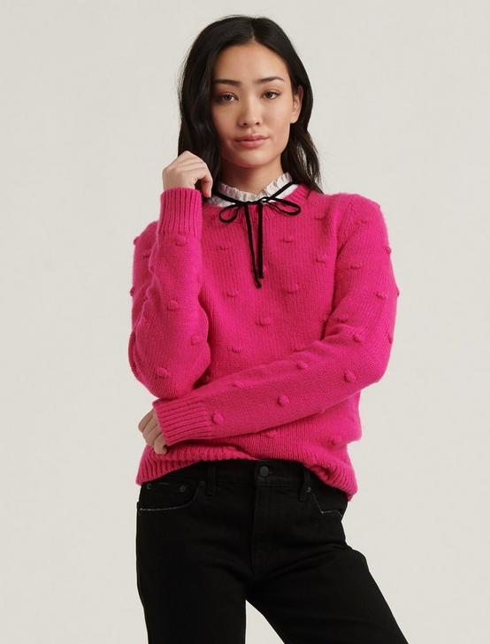 BOBBLE CREW NECK SWEATER, JULIET PINK, productTileDesktop