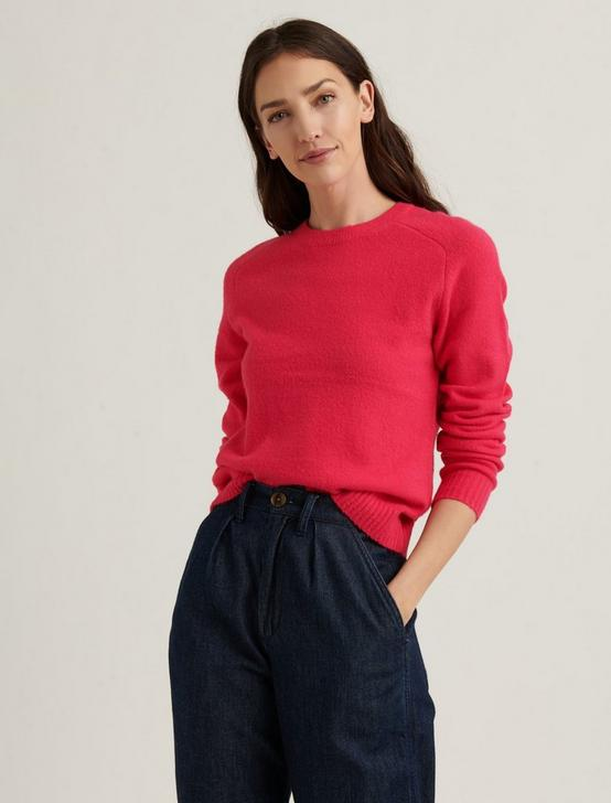 MAYA SOLID CLASSIC PULLOVER, BOLDEST PINK, productTileDesktop