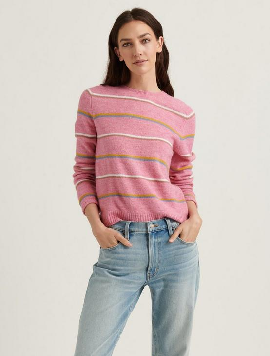 MAYA STRIPE CLASSIC PULLOVER SWEATER, PINK MULTI, productTileDesktop