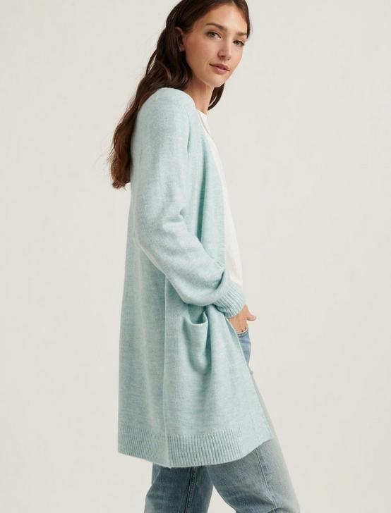 BALLOON SLEEVE CARDIGAN, MINT HEATHER, productTileDesktop