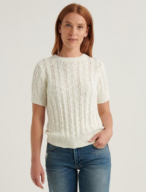 LIGHTWEIGHT SHORT SLEEVE CABLE SWEATER, SNOW WHITE, productTileDesktop