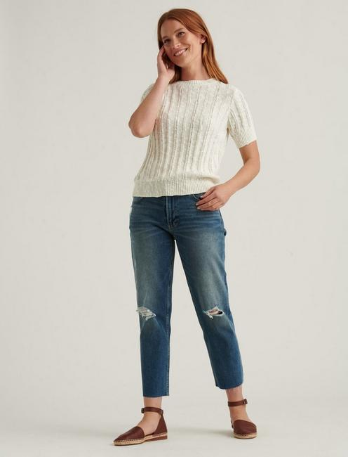 LIGHTWEIGHT SHORT SLEEVE CABLE SWEATER, SNOW WHITE