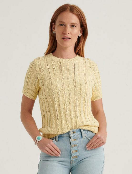 LIGHTWEIGHT SHORT SLEEVE CABLE SWEATER, DOUBLE CREAM, productTileDesktop