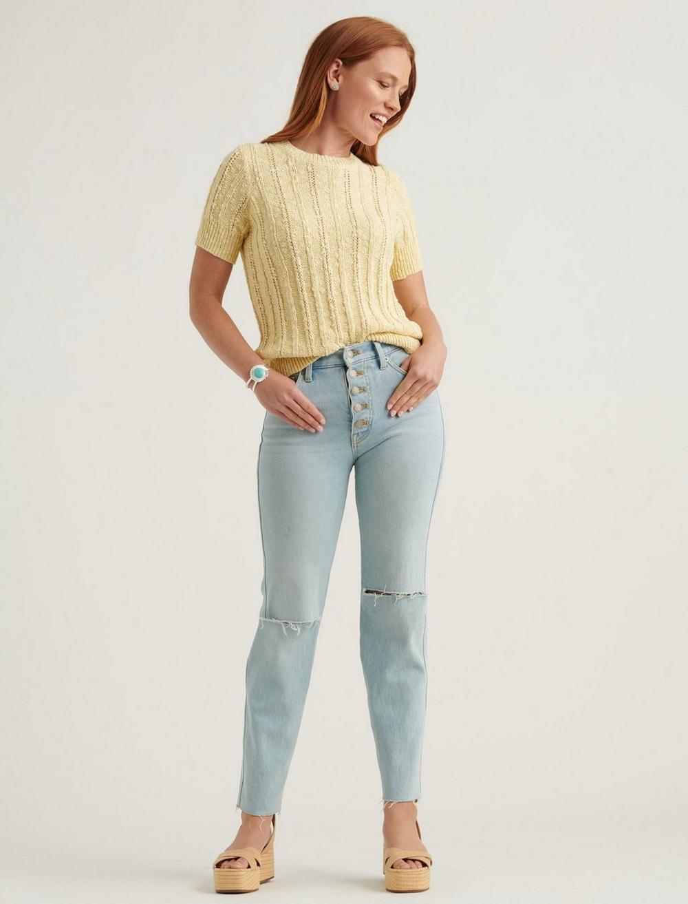LIGHTWEIGHT SHORT SLEEVE CABLE SWEATER, image 2