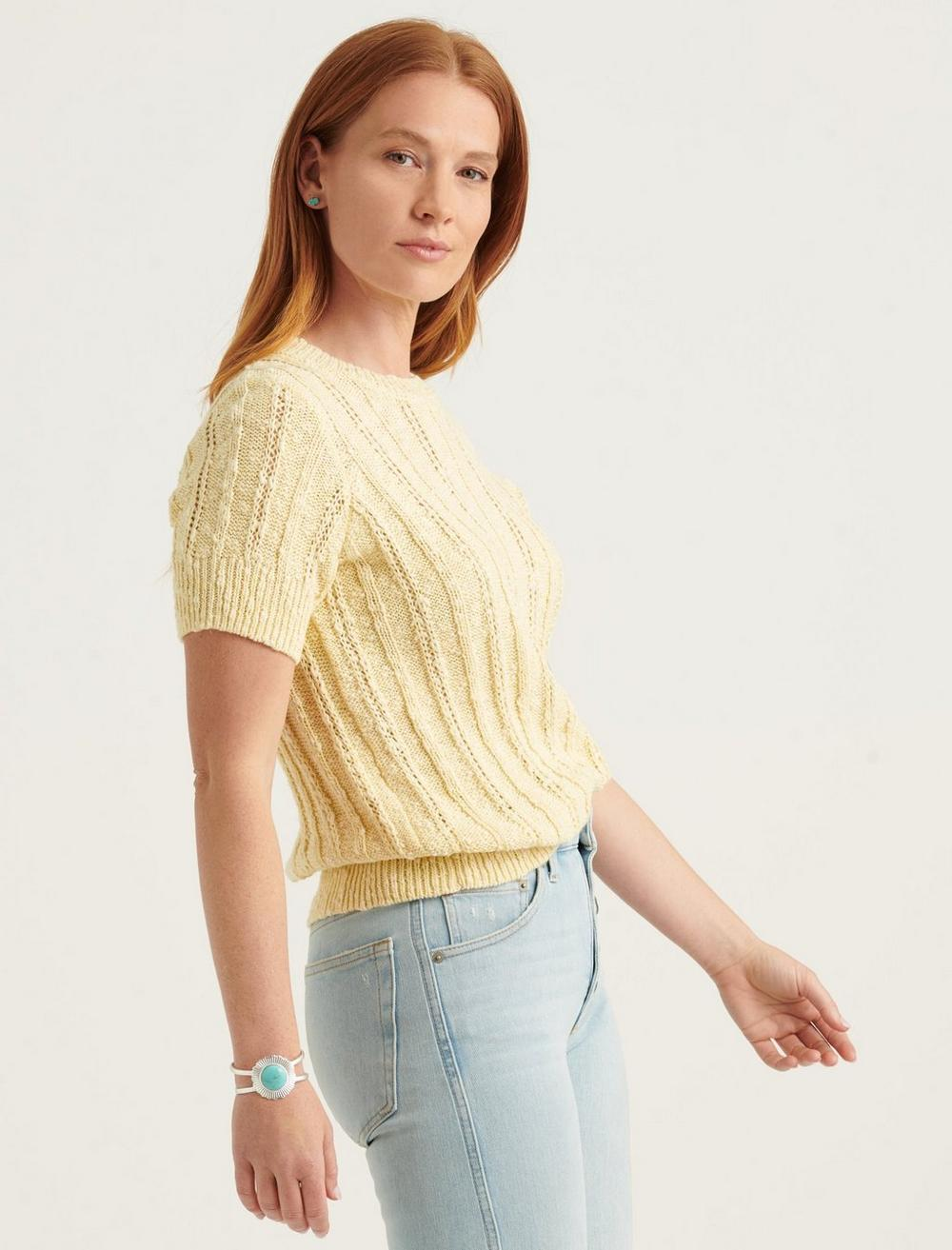 LIGHTWEIGHT SHORT SLEEVE CABLE SWEATER, image 3