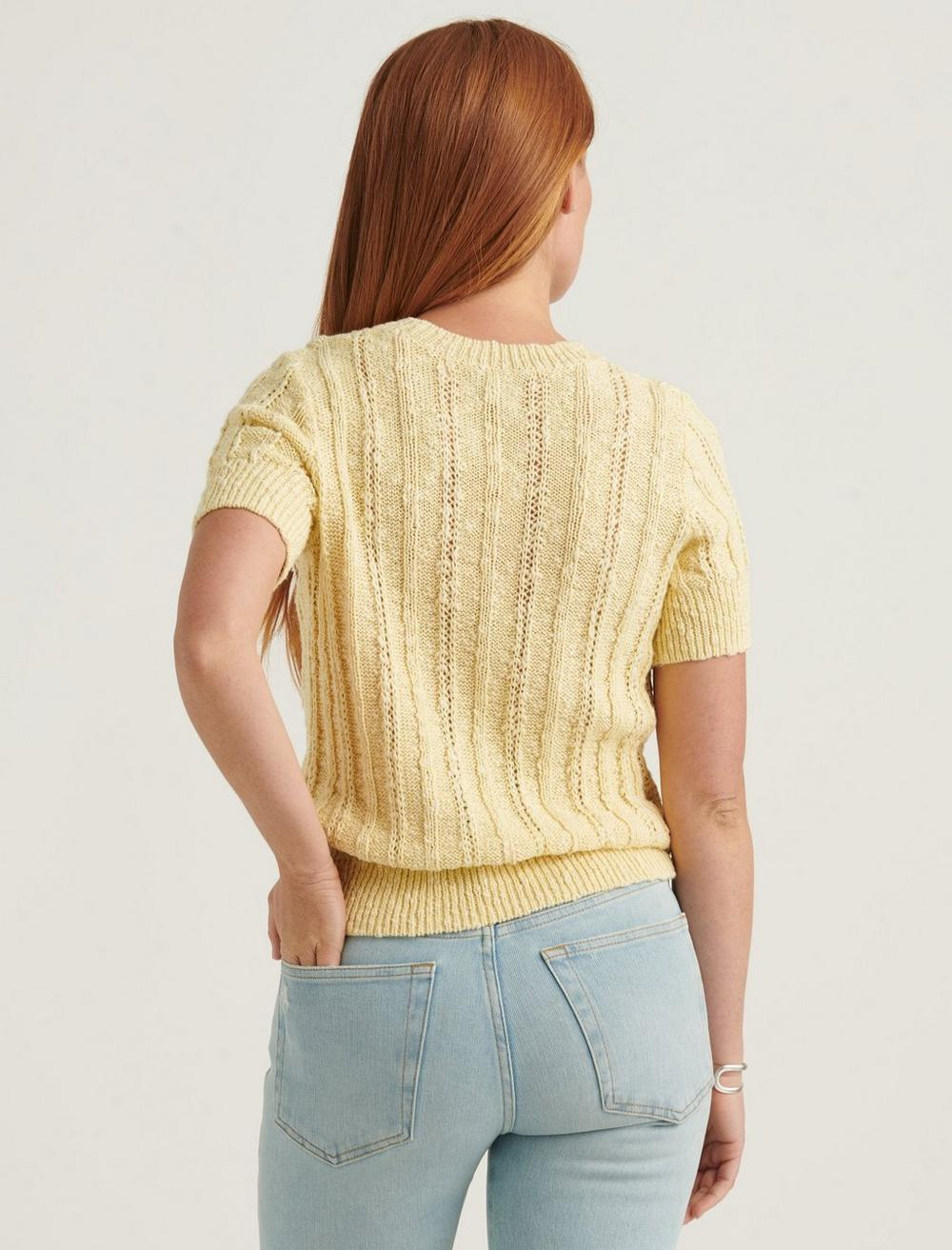 LIGHTWEIGHT SHORT SLEEVE CABLE SWEATER, image 4
