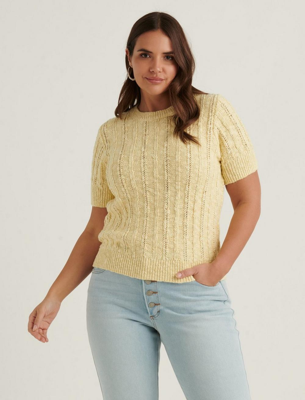 LIGHTWEIGHT SHORT SLEEVE CABLE SWEATER, image 5