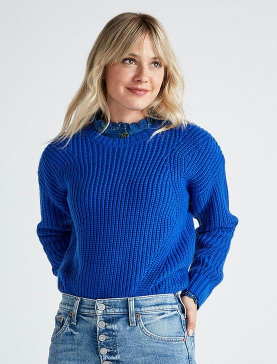 SOLID CREW NECK SWEATER, COBALT, productTileDesktop